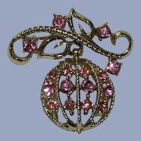 Coro 1954 Adolph Katz Pink Rhinestone Dangler Brooch
