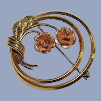 Tri Colored Gold Krementz Floral Circle Brooch