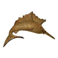 Vintage Figural Sword Fish Brooch