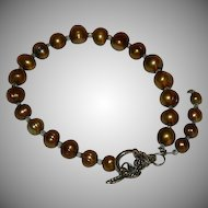 Copper Gold Freshwater Pearls Toggle Bracelet