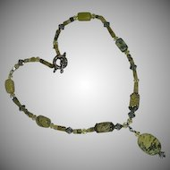 Enhanced Howlite Yellow Stone Crystals Lavalier Drop Necklace