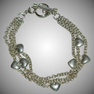 Gorgeous Sterling Silver Heart Multistrand Chain Bracelet