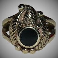 1970's Vermeil Black Onyx Native American Design Ring sz 4.25