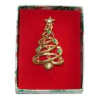 In Original Box Lovely Rhinestone Christmas Tree Brooch