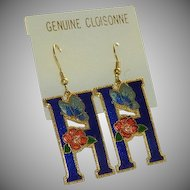 "Wow! Blue Cloisonne Enamel Initial ""H"" Earrings"