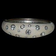 Rich White Enamel & Rhinestone Clamper Bracelet
