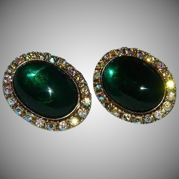 Coro Huge Green Gl Cab Rhinestone Earrings