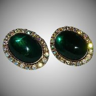 Coro Huge Green Glass Cab Rhinestone Earrings