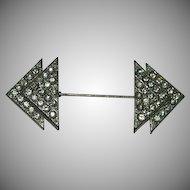 Rare! Art Deco Black Dot Paste Stone Scarf Pin Brooch