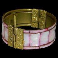 Vintage Pastel Pink MOP Inlay Brass Trombone Slider Clasp Old