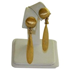 Monet Brushed Gold Tone Drop Earrings