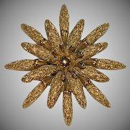 Monet Rich Gold Tone Flower Brooch