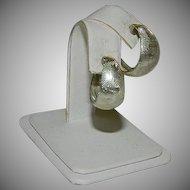 Etched Sterling Silver Chunky Hoop Earrings ~ Pierced Ears