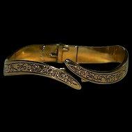 1960'sEtched Gold Tone Clamper Bracelet