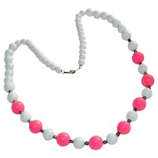 Summer White & Pink Lucite Beaded Necklace