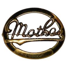 Stamped Brass Mother's Pin