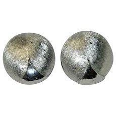 Huge Crown Trifari Silver Tone Disk Earrings