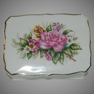 Pretty Bone China Roses Jewelry Trinket Box ~ Vanity Box