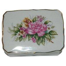 Pretty Bone China Roses Jewelry Trinket Box ~ Vanity Box