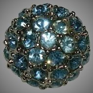 Single Sky Blue Rhinestone Button ~ Cup Cake Shaped Silver Tone