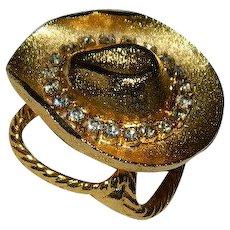 Sparkling Western Cowboy Hat Scarf Holder ~ Pin