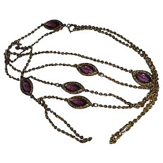 Stunning Purple Bezel Set Crystal Gold Tone Chain Necklace 54""