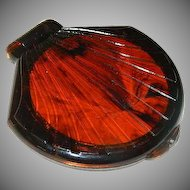 Art Deco Faux Tortoise Shell Large Compact Mirror