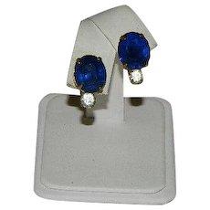 Gorgeous Deco Cobalt Blue Rhinestone Earrings