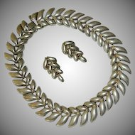 Massive Modernist Sterling Silver Necklace Collar & Matching Earring Set