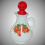 Charming Avon Strawberries & Cream Milk Glass Cruet Creamer Corked