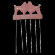 Rare! Soft Pink Celluloid French Poodle Hair Comb Pick Early Plastics Metal comb