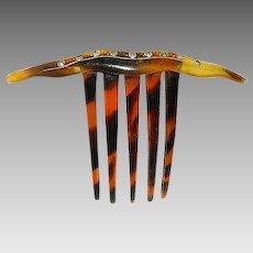 Art Deco Faux Tortoise Shell & Rhinestones Hair Comb