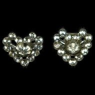 Art Deco Paste Stone Heart Shaped Shoe Clips Desireable Small Size