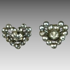 Art Deco Paste Stone Heart Shaped Shoe Clips Desireable Small Size