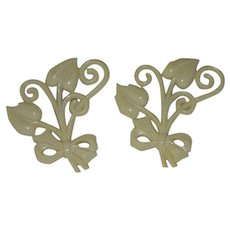Pair of Early Celluloid Floral Leaf Vine Pin Brooches