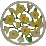 Early Celluloid Yellow Floral Brooch