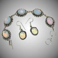 Stunning Opaline Opalite Sterling Silver Cab Bracelet & Earring Set