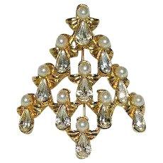 Fantastic Avon Angel Christmas Tree Brooch ~ Pear Rhinestones Faux Pearls
