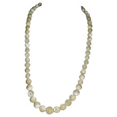 Estate Art Deco Mother of Pearl Graduated Bead Necklace