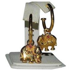 Estate Elephant Charm Hoop Earrings