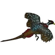 Early Plastics Hand Painted Pheasant in Flight Brooch