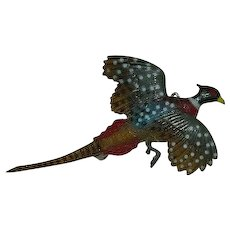 Early Plastics Hand Painted Pheasant in Flight Brooch - Red Tag Sale Item
