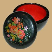 Russian Lacquer Hand Painted Trinket Box Notions Box Catch All