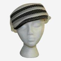 Stix Baer & Fuller Black & White Netted Pillbox Hat ~ Medium