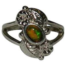Pretty Fire Opal Sterling Native Style Ring sz 6.5