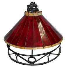 Two Vintage Blood Red Slag Glass Hanging Lights Lamps