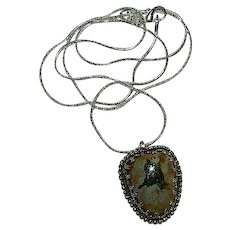 Exceptional Hand Made Fine Silver Turquoise Pendant w/Loads of Pyrite Matrix!!