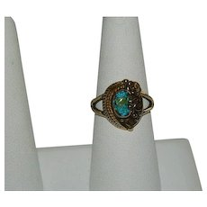 One of a Kind Floating Turquoise & Opal South West Style Ring sz 8