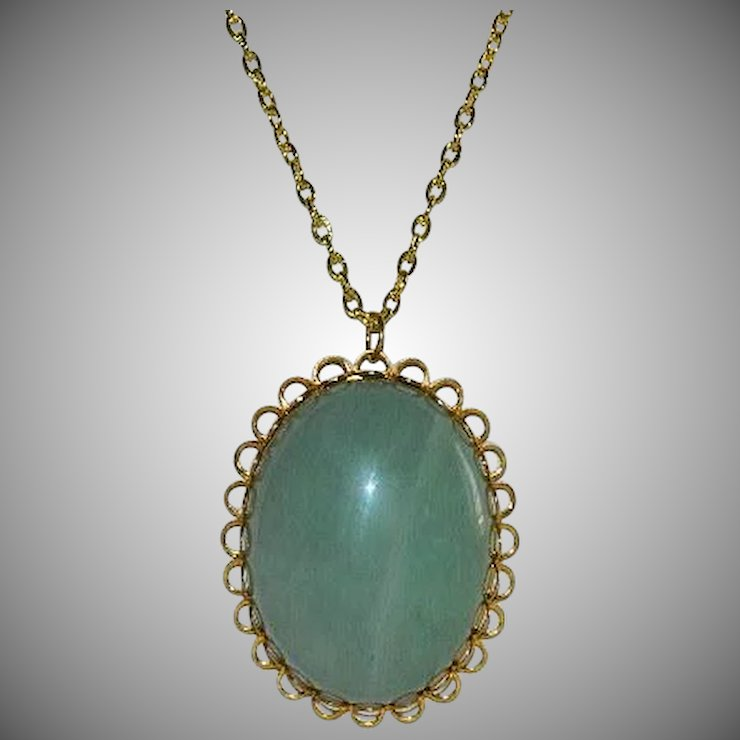 Large green aventurine pendant custom made gold tone setting a bit large green aventurine pendant custom made gold tone setting aloadofball Images