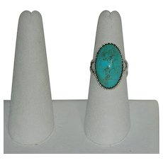 Highest Quality Kingman Turquoise Sterling Silver Ring sz 7